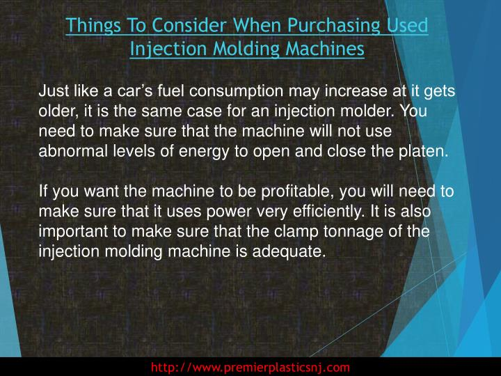 Things To Consider When Purchasing Used Injection Molding Machines