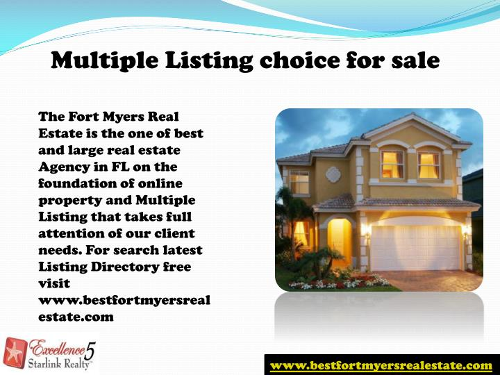 Multiple Listing choice for sale