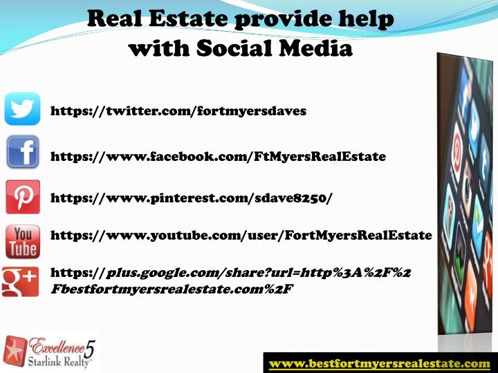 Real Estate provide help with Social Media