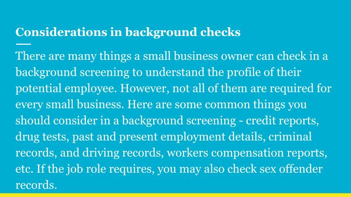 Considerations in background checks