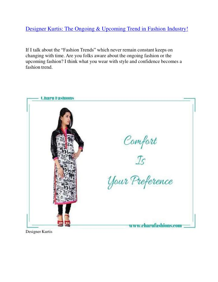 Designer Kurtis: The Ongoing & Upcoming Trend in