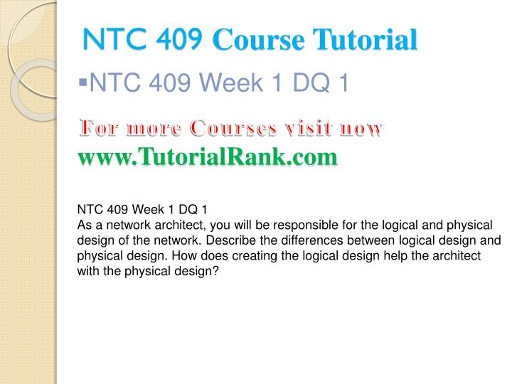 Ntc 409 course tutorial2
