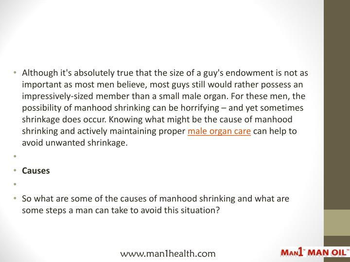Although it's absolutely true that the size of a guy's endowment is not as important as most men believe, most guys still would rather possess an impressively-sized member than a small male organ. For these men, the possibility of manhood shrinking can be horrifying – and yet sometimes shrinkage does occur. Knowing what might be the cause of manhood shrinking and actively maintaining proper