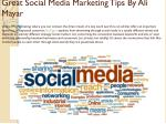 great social media marketing tips by ali mayar