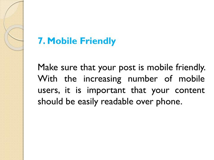 7. Mobile Friendly
