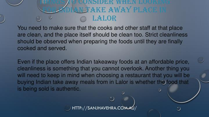 Things to consider when looking for indian take away place in lalor2