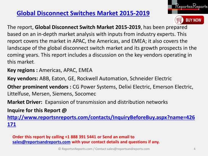 Global Disconnect Switches Market 2015-2019