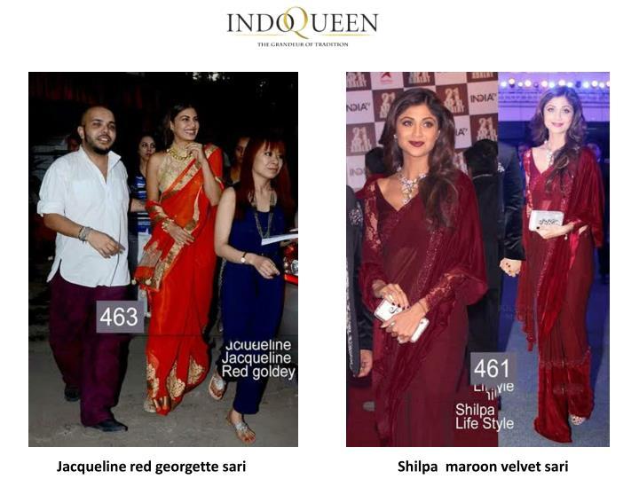 Jacqueline red georgette sari