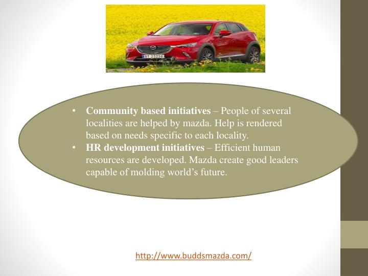 Community based initiatives