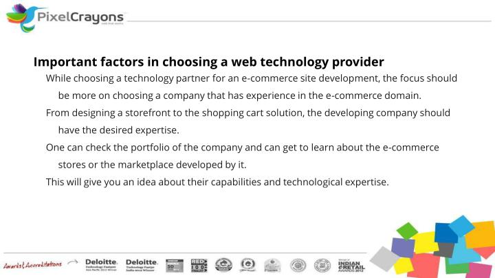 Important factors in choosing a web technology provider