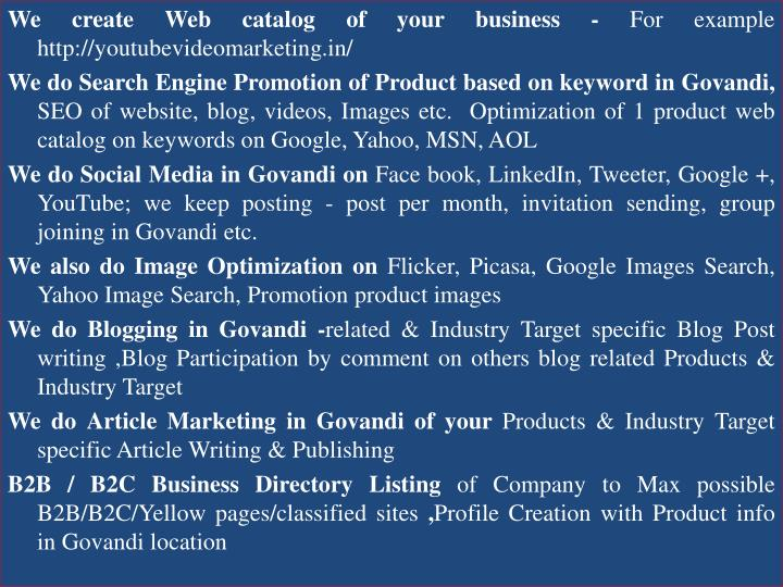 We create Web catalog of your business -