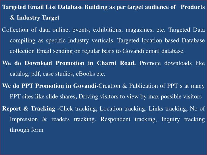 Targeted Email List Database Building as per target audience of   Products & Industry Target