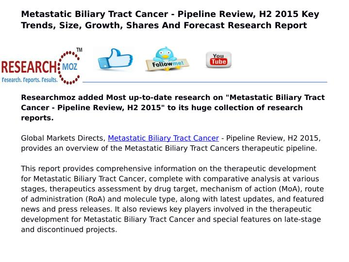 Metastatic Biliary Tract Cancer - Pipeline Review, H2 2015 Key