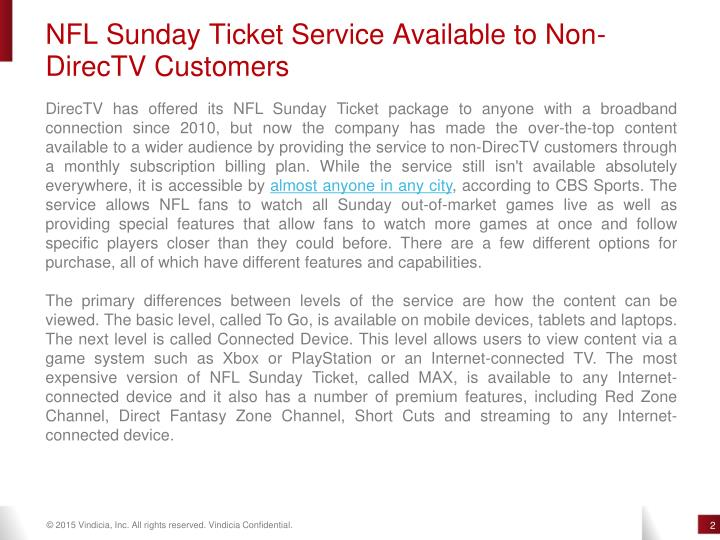 NFL Sunday Ticket Service Available to Non-