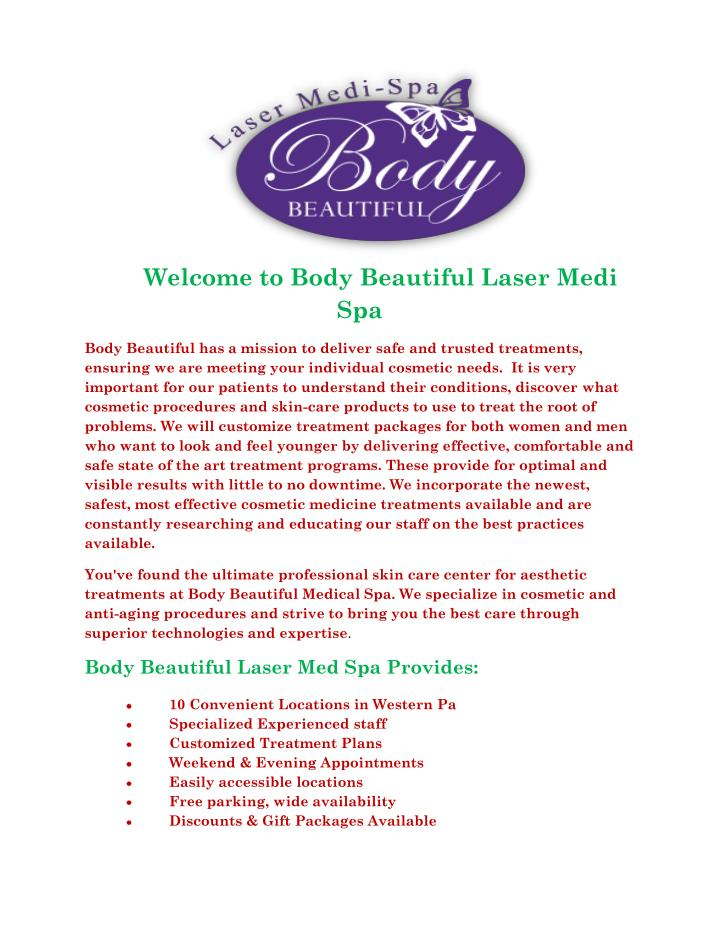 Welcome to Body Beautiful Laser Medi