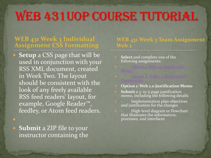 WEB 431UOP