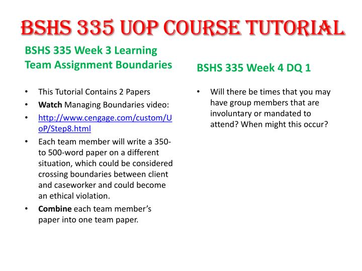 BSHS 335 UOP Course