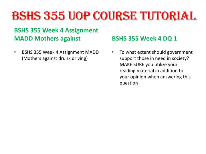 BSHS 355 UOP Course