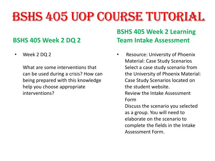 BSHS 405 UOP Course