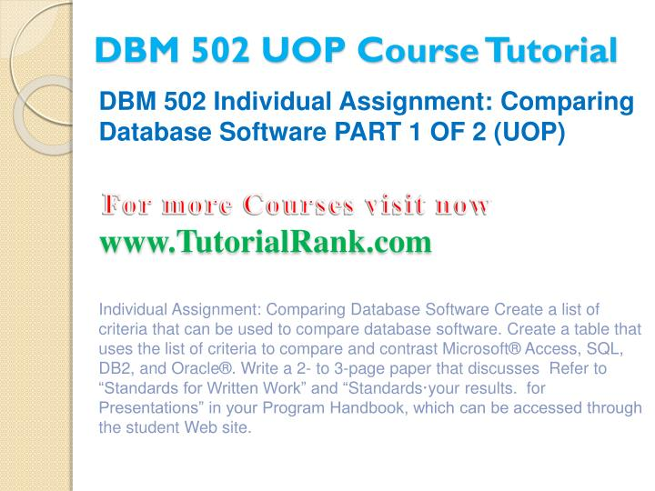 Dbm 502 uop course tutorial2