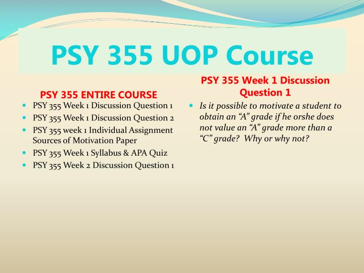 Psy 355 uop course1