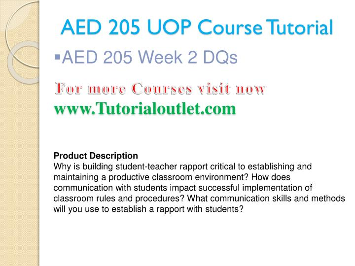 AED 205 UOP Course Tutorial