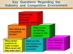 key questions regarding the industry and competitive environment