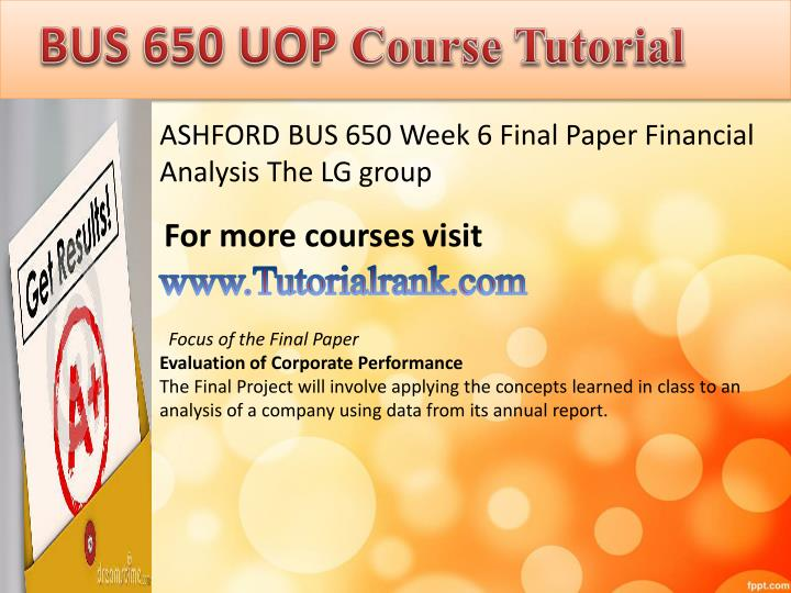 BUS 650 UOP