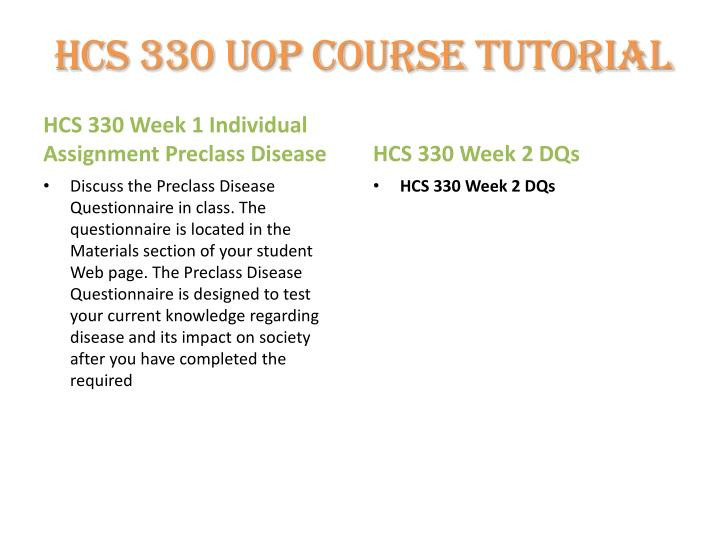 HCS 330 UOP Course Tutorial
