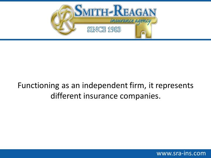 Functioning as an independent firm, it represents