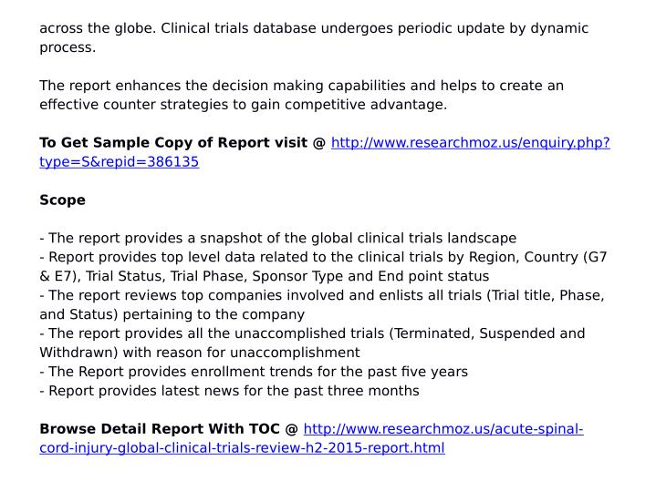 Across the globe. Clinical trials database undergoes periodic update by dynamic
