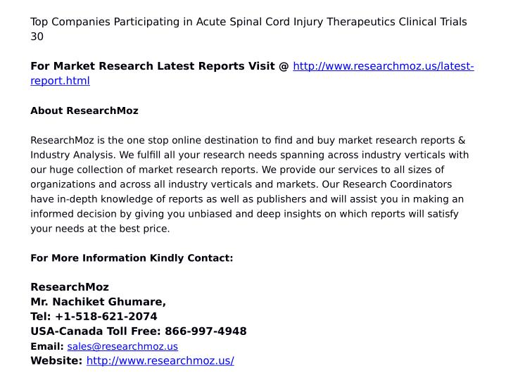 Top Companies Participating in Acute Spinal Cord Injury Therapeutics Clinical Trials