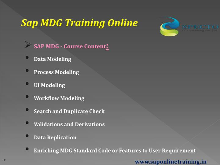 Sap MDG Training Online