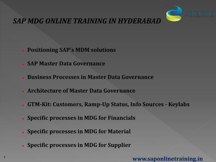 SAP MDG ONLINE TRAINING IN HYDERABAD