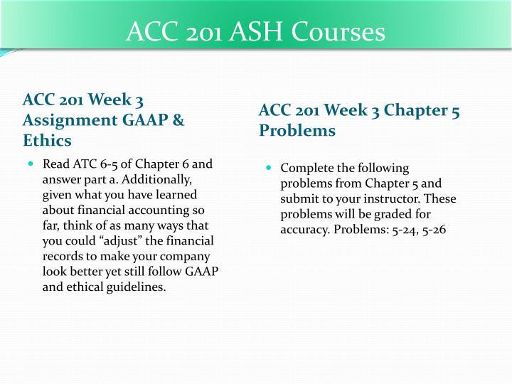 ACC 201 ASH Courses