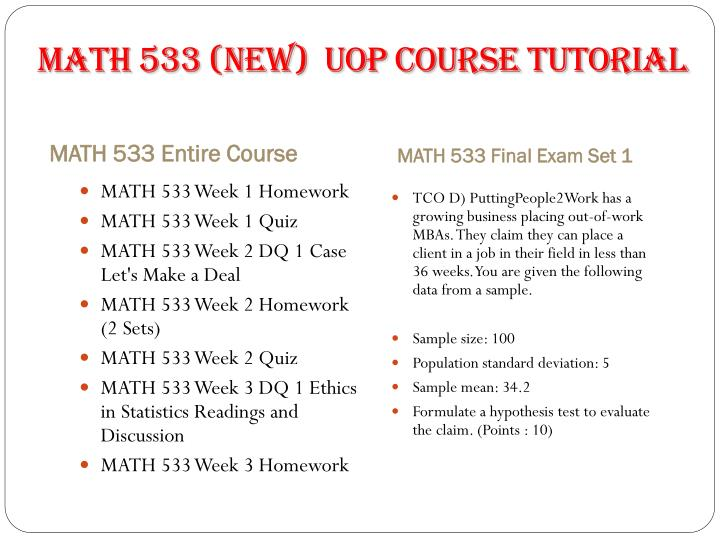 MATH 533 (new)  UOP Course Tutorial