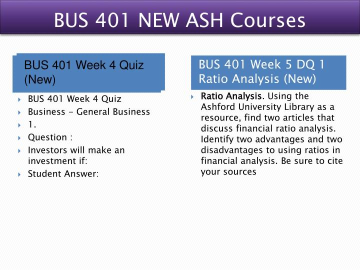 BUS 401 NEW ASH Courses