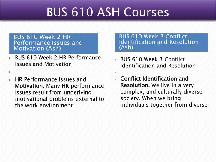 BUS 610 ASH Courses