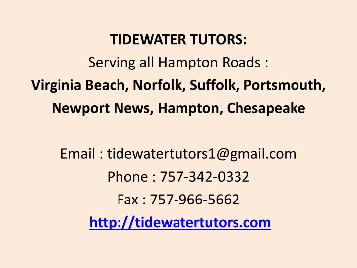 TIDEWATER TUTORS: