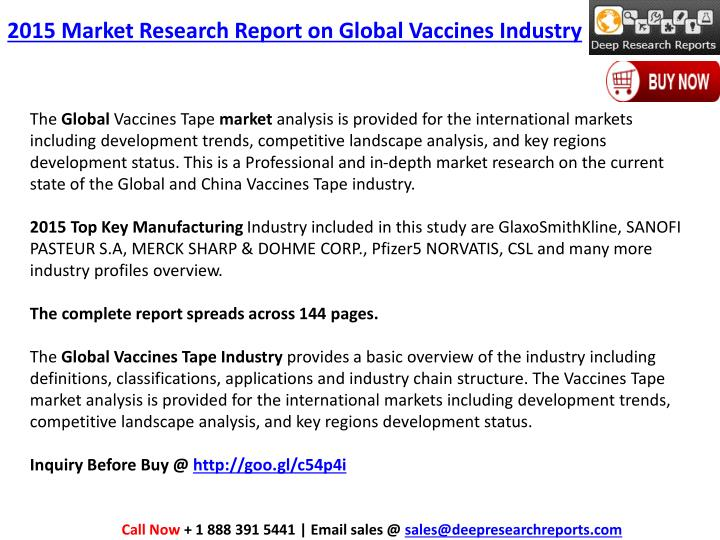 2015 Market Research Report on Global Vaccines Industry