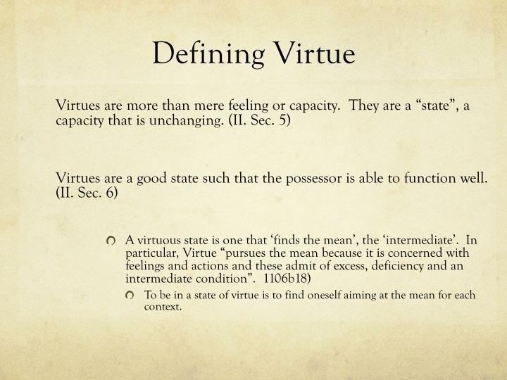 Defining Virtue