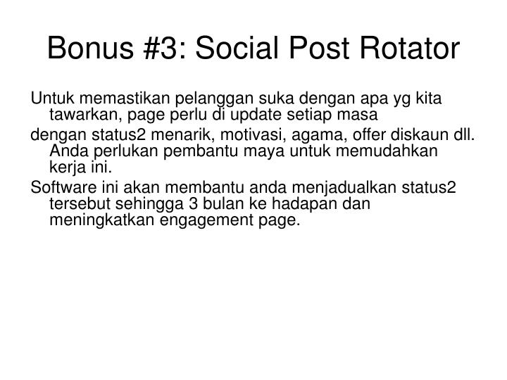 Bonus #3: Social Post Rotator