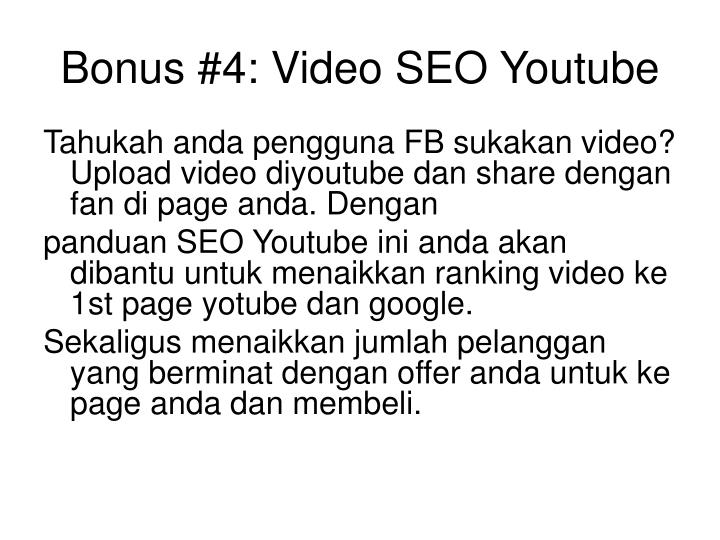 Bonus #4: Video SEO Youtube