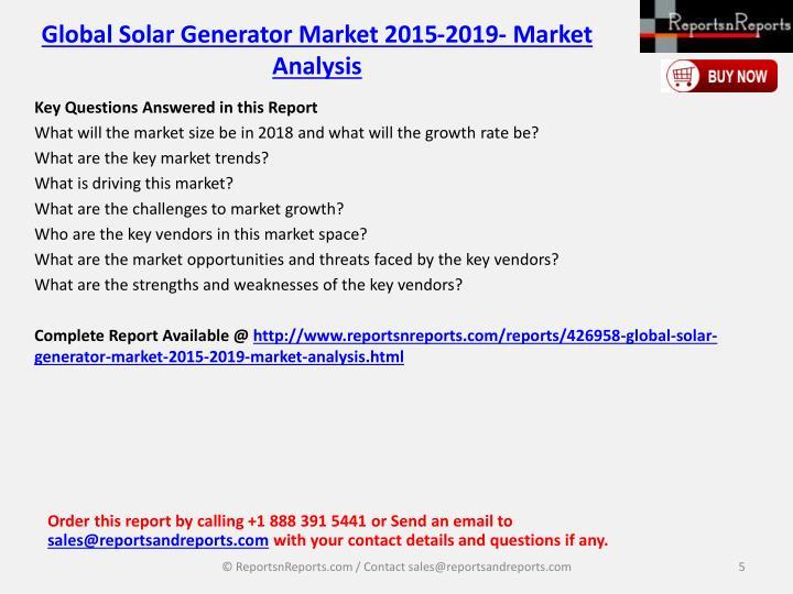 Global Solar Generator Market 2015-2019- Market Analysis