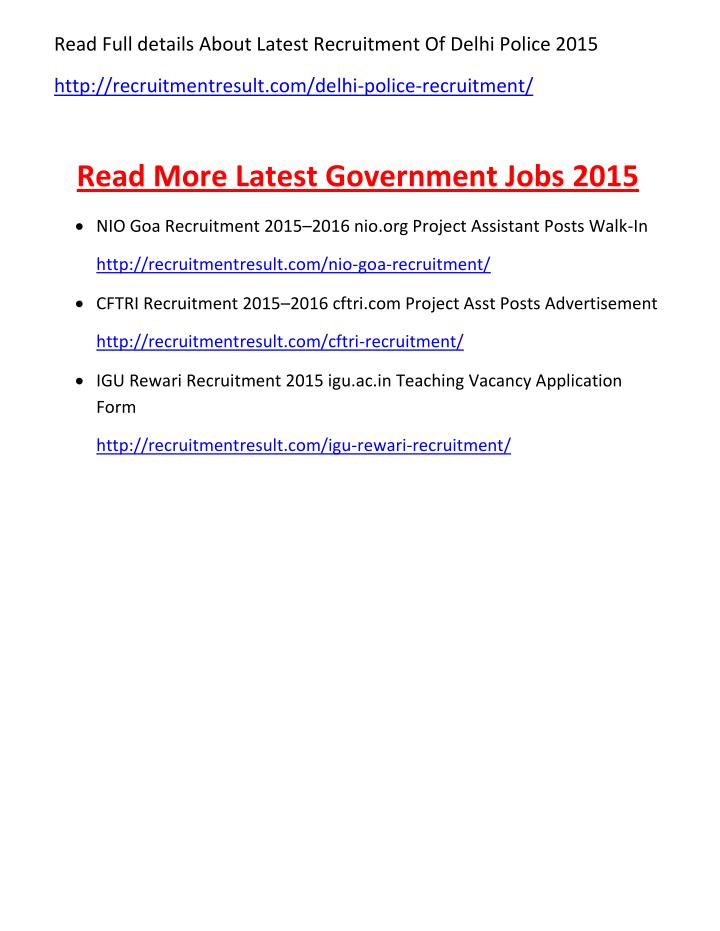 Read Full details About Latest Recruitment Of Delhi Police 2015