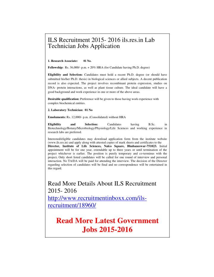 ILS Recruitment 2015- 2016 ils.res.in Lab
