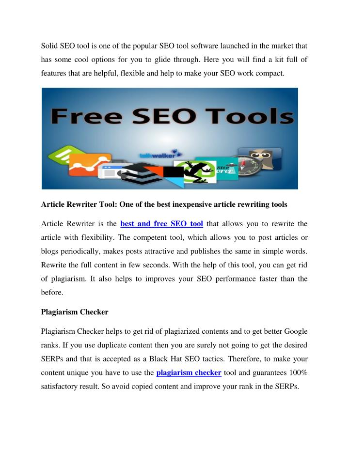Solid SEO tool is one of the popular SEO tool software launched in the market that