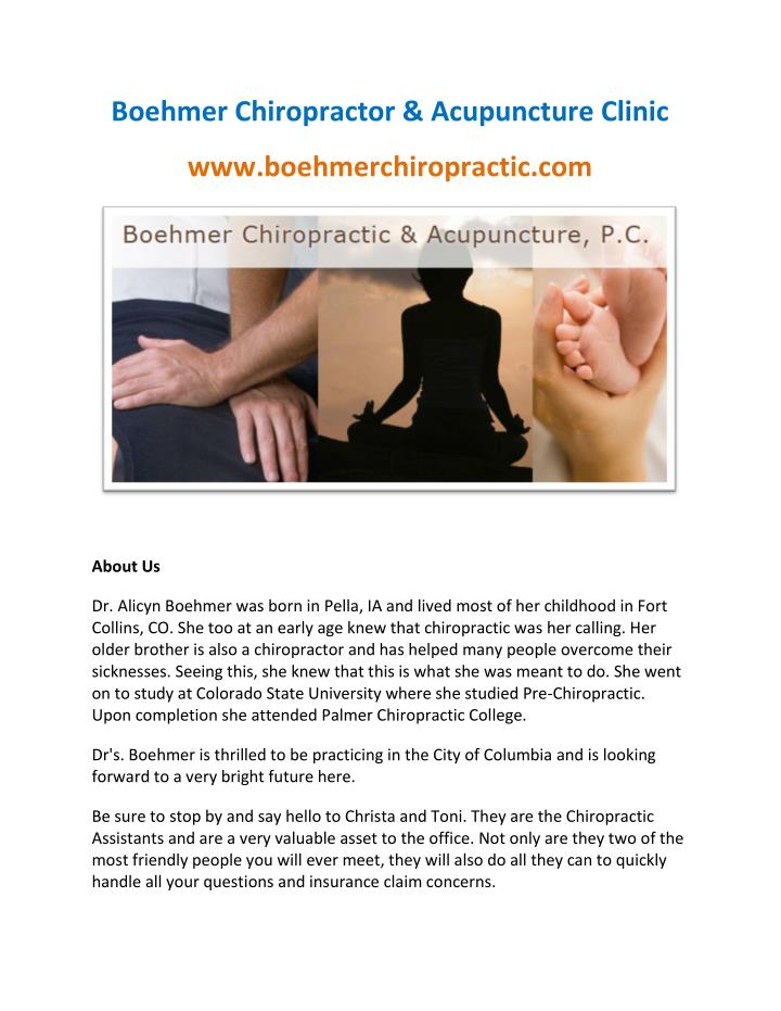Boehmer Chiropractor & Acupuncture Clinic