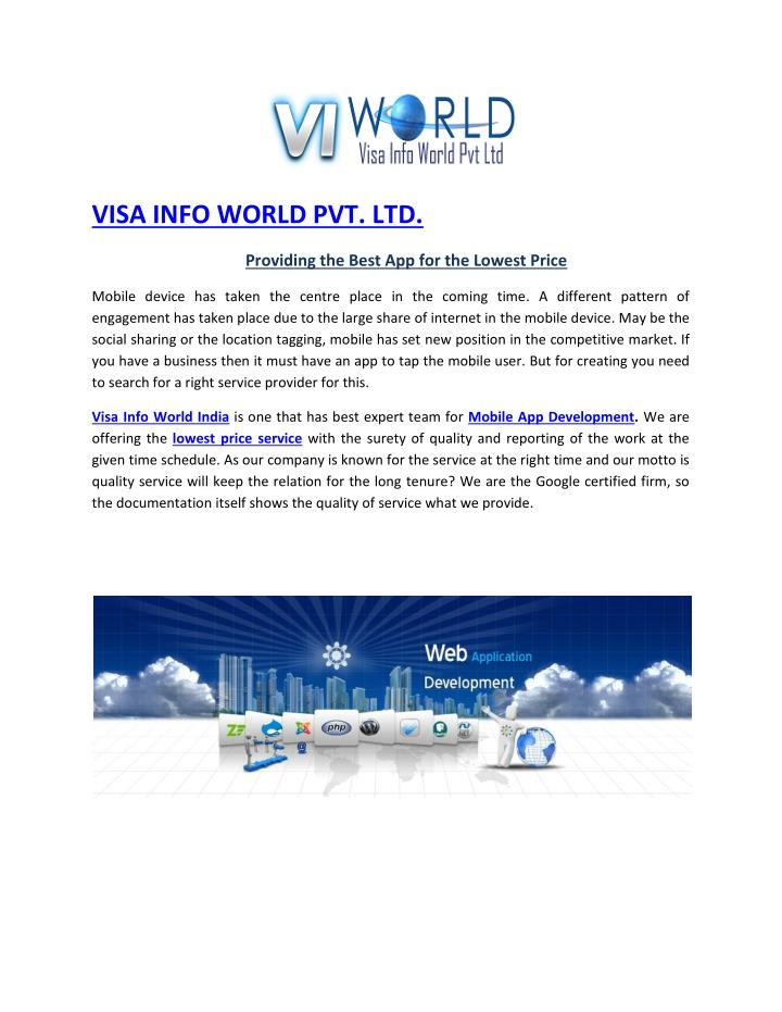 VISA INFO WORLD PVT. LTD.