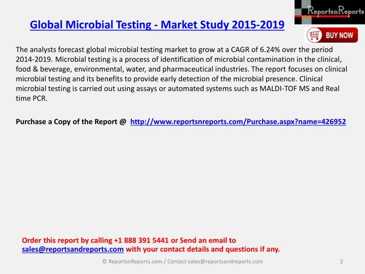 Global microbial testing market study 2015 20191